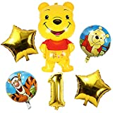 Winnie the Pooh Themed Party Supplies, 6pcs Winnie The Pooh Party, Winnie the Pooh Themed 1st Birthday Decorations for Girl and Boy Birthday