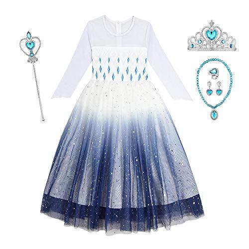 O.AMBW Disfraz Frozen 2 Vestido Blanco Azul Estampado de Estrellas Cosplay Princesa Elsa Disfraz con Accesorios Regalo de cumpleaños Navidad Fiesta de Halloween para niñas de 2 a 10 años