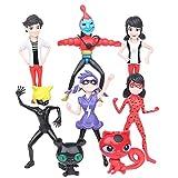 Ladybug and Toys 8pcs Set, Ladybug Toys Set Action Figure Includes Ladybug + Tikki + Cat Noir and Plagg