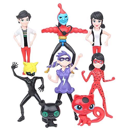 8 Pack Ladybug Action Figure, Miraculous Ladybug and Cat Noir Action Figures Set of Ladybug Toy Minifigures Active Arm Action Figure Model Decoration Gift