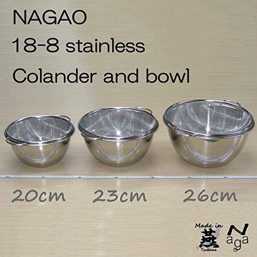 『ナガオ 燕三条 深型ボウル ザル セット スタンダード 外径23cm 18-8ステンレス 日本製』の2枚目の画像