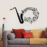 yaonuli Vinilo para saxofón Jazz Blues Notas Música Vinilo Adhesivo de Pared 50X84cm