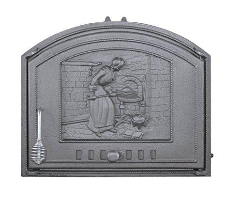 Backofentür Ofentür Pizzaofentür Holzbackofentür Steinbackofentür aus Gusseisen | Außenmaße: 485x410 mm | Öffnungsrichtung: rechts