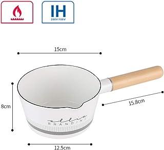 DSstyles Food Cooking Pan,Enamel Milk Pot Letters Pattern Wooden Handle Small Soup Pot branding without lid