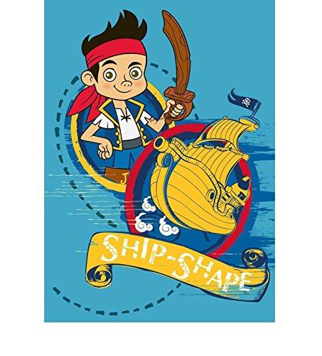 Tapis pour enfants avec jake et pirates le pays imaginaire/jake avec bateau pirate/dimensions env. 95 x 133 cm.