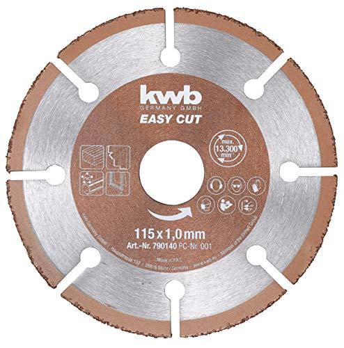 kwb 790140 Easy-Cut universal Hartmetall Trennscheibe 115 mm x 1,0 mm, Flex-Scheibe f. div. Materialien, Bohrung 22,23 mm, 115mm