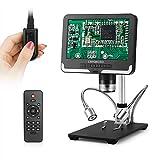 LINKMICRO デジタル顕微鏡 7インチ LCD 1080Pスクリーン 200倍率 はんだ付け 部品検査 宝石鑑賞 写真 録画可能 画像逆転 金属スタンド リモコン モニター LEDライト 調節可能 デジタルマイクロスコープ 電子顕微鏡 1年間保証 (黒)