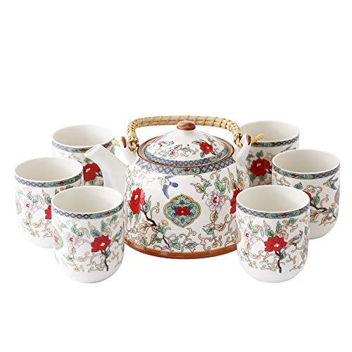 ufengke 7 Pezzi Set da tè Cinese, Modello di Fiore E Uccello, Servizio da tè Vintage in Porcellana Servizio da tè Jingdezhen, per Regalo, La Famiglia E Ufficio