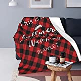 This is My Hall-Mark Christmas Movie Watching Blanket - Fun Red Christmas Throw Blanket Plush Winter Fleece Blanket Lightweight Super Warm Soft Christmas Throws and Blankets for Sofa Couch/Bed 5060