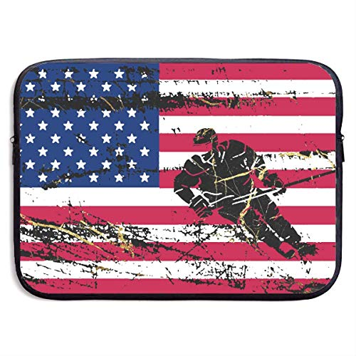 USA American Flag Hockey Cool Ice Skating Laptop Sleeve Bag Portable Dual Zipper Case Cover Pouch Holder Pocket Tablet Bag,Water Resistant 13 Inch