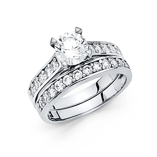 Sonia Jewels 14k White Gold Cubic Zirconia CZ Wedding Band and Engagement Bridal Ring Two Piece Set Size 5.5