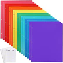 EOOUT 16pcs Plastic Folders with Pocket, 3 Hole and 2 Business Card Slots, Heavy Duty Plastic 3 Hole Punch Folders with Pockets, Multicolor, with 3 Stickers