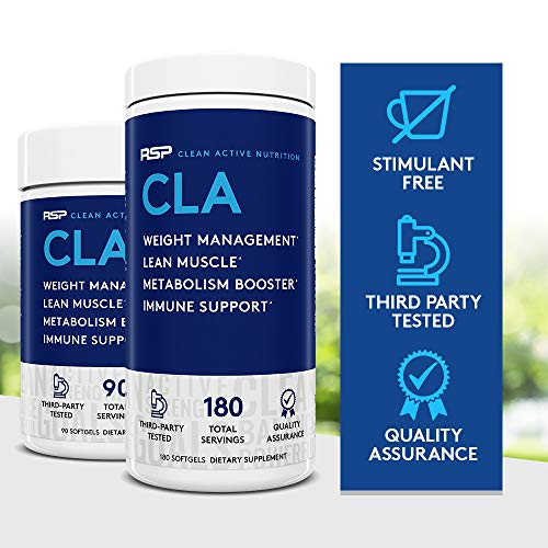 RSP CLA 1000 Conjugated Linoleic Acid Max Strength Softgels, Natural Stimulant Free Weight Loss Supplement, Fat Burner for Men & Women, 180 Ct. (Packaging May Vary) 7