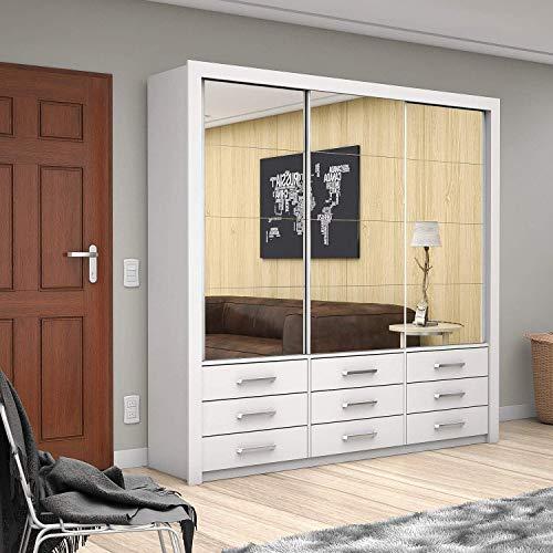 Guarda Roupa Casal com Espelhos 3 Portas de Correr Anjos Premium Siena Móveis Branco