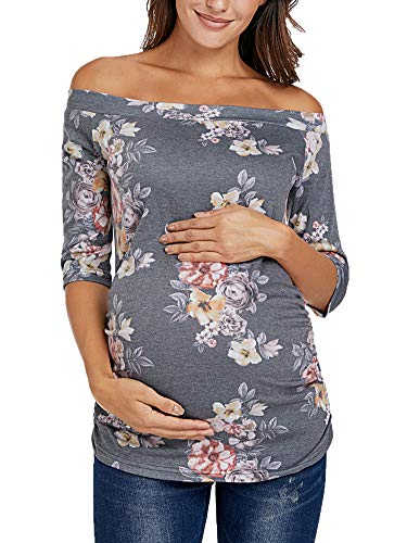 Love2Mi Damen Umstandsshirts Schulterfrei 3/4 Arm Tunika Tops Bequem Seite Geraffte Schwangerschaft T-Shirt - Grau - Mittel