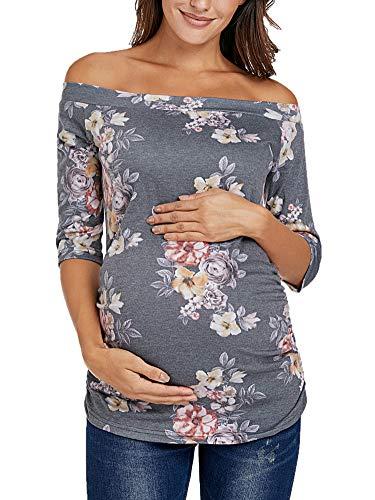 Love2Mi Damen Umstands-Tunika, schulterfrei, 3/4-Ärmel, klassisch, seitlich gerüscht, Schwangerschaftskleidung - Grau - Mittel