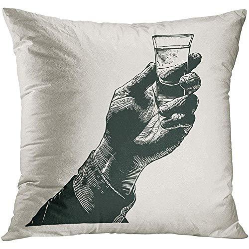 MJDIY Kussensloop, Vintage Mannelijke Hand Holding Shot Van Alcohol Drink Ontwerp Graveren Stijl Glas Whiskey Zachte Comfortabele Kussenslopen Voor Sport Gym Atletiek