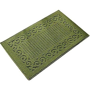 Ozzptuu Rectangle Non-Slip Kitchen Bedroom Toilet Doormat Floor Rug Mat Keeps your Floors Clean Decorative Design (Large, Green)