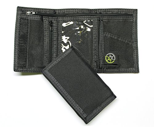 Nylon Trifold Wallet with Zippered Coin Pocket (Black)