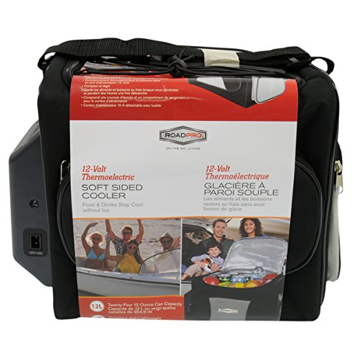 RoadPro Automotive Soft Sided 12 Volt Travel Cooler Bag, Grey/Black, 13 x 11.5 x 8.3 in
