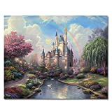 Rihe Diy Oil Painting, Paint by Number kit-Rainbow Castle 16 * 20 inch (Frameless)