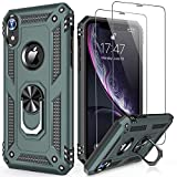 LUMARKE iPhone Xs Max Case with Glass Sreen Protector,Pass 16ft Drop Test Military Grade Cover with Magnetic Kickstand Car Mount Holder,Protective Phone Case for iPhone Xs Max Pine Green