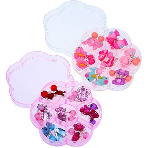 YeahiBaby Boucles d'oreilles clips pour enfants princesse jouer boucles d'oreilles avec 2 boîte pour enfants cadeau d'anniversaire, Lot de 14 paires