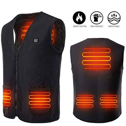 Yevohadt Men Heated Vest,Rechargable Lightweight Body Warmer Women Jacket Hunting Clothes Black