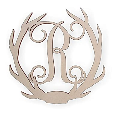 Jess and Jessica Wooden Deer Antler Monogram Letter R for Wall Decor or Door Hanger, Great for Gifts