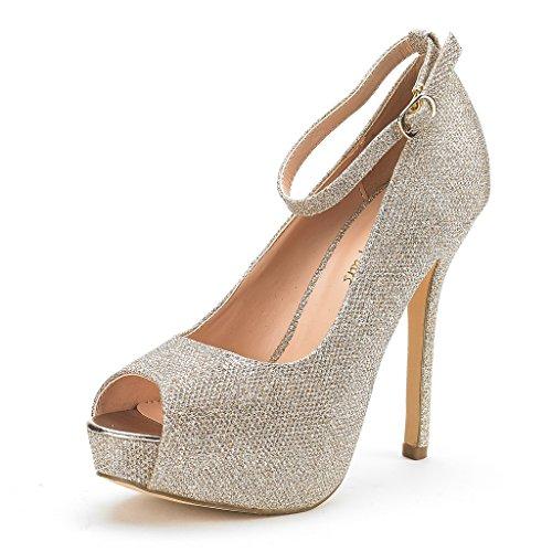 DREAM PAIRS Women's Swan-10 Gold Glitter High Heel Plaform Dress Pump Shoes - 7 M US