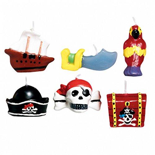 Amscan 6 Mini Bougies Pirates - Taille Unique