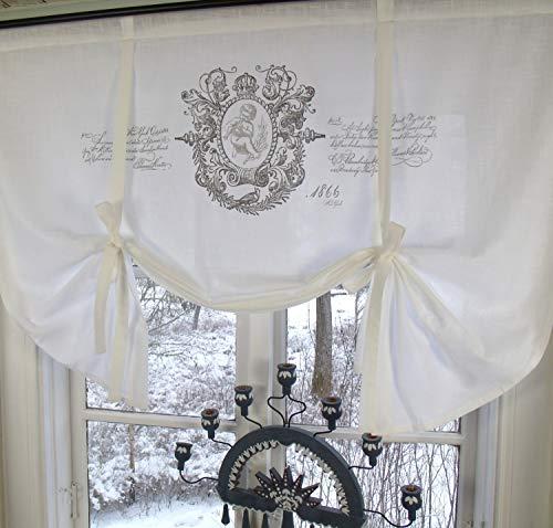 LillaBelle Raff Gardine Jeanne Weiss Rollo 180x100 cm Engel Shabby Vintage Romantik Landhaus