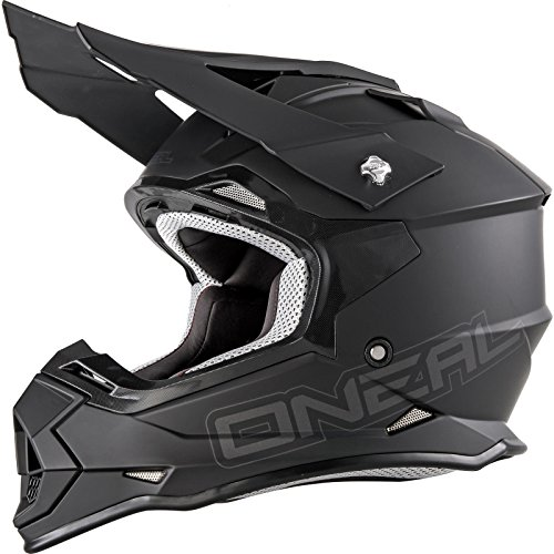O'NEAL | Casco da motocross | MX Moto | Calotta in ABS, Standard di sicurezza ECE 22.05, Prese d'aria per una ventilazione e raffreddamento ottimali | Casco 2SRS Flat | Adulto | Nero | Taglia M