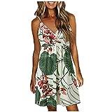 Briskorry Mini robe d'été pour femme - Robe florale - Col en V - Robe de plage bohème - Longueur genoux - Imprimé tournesol - Ligne A, Vert 6., XL