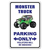 NINGFEI Metal Street Sign Monster Truck Parking Only Violators Will Be Smashed Decor Tin Signs 8 x 12 inches Decorative Sign