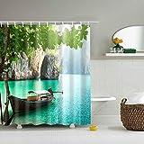 N/V Cortinas de Ducha, Cortina de Ducha de paisajes de Vela de Lake Valley, con Ganchos de Tela de Tela Decoración de baño Set 90x180cm