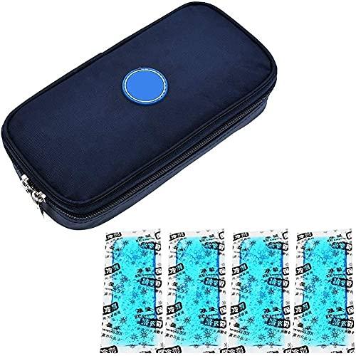LSWY Organizador diabético del refrigerador de la insulina del enfriador de viajes de la insulina para la pluma de insulina, el medidor de glucosa y los suministros para diabéticos con 4 refrigeradore