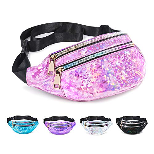 Fanny Pack Belt Bag, Holographic Fanny Packs for Women Men Kids, Fashion Waterproof Waist Pack with 3 Pouches Adjustable Strap, Shiny Casual Bags Cute Bum Bag (Diamond Holographic Pink Fanny Pack)