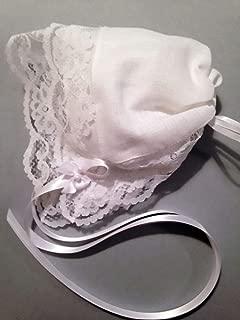 Bridal Lace Linen Handkerchief Baby Bonnet & Poem