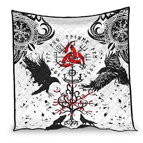 OwlOwlfan Viking Tattoo Muninn Crow Anti Allergy Easy Care Hypoallergenic Thin Duvet Bedspread for Spring Summer Autumn Season white 200x230cm