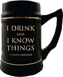 Game of Thrones Collectible Ceramic Steins - I Drink and I Know Things - 24 oz Capacity - Sturdy Mug with Handle - Gift Box