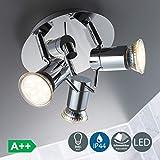 B.K.Licht plafonnier LED SDB 3 spots orientables, ampoules LED 3W GU10 incluses, lumière blanche chaude, luminaire IP44 pour cuisine, 230V