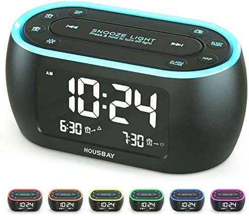 Housbay Glow Small Alarm Clock Radio for Bedrooms with 7 Color Night Light Dual Alarm Dimmer product image