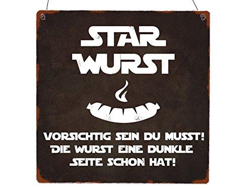 Interluxe XL Holzschild Star Wurst Grillen Star Wars Lustig Sommer Terrasse Geschenk Deko