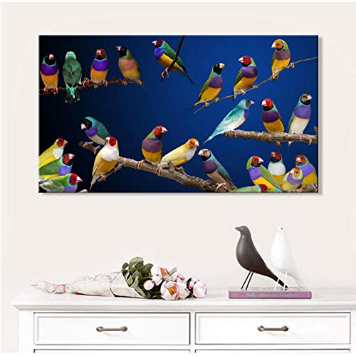 Cczxfcc Artistic Tinted Bird on Branches Wood Landscape Oil Painting on Canvas Wall Art Poster Print Wall Pictures for Living Room Decor-30cmx45cm
