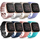 Tobfit Sport Bands Compatible with Versa/Versa Lite/SE, Soft TPU Wristbands Accessories for Women Men, Rose Gold/Champagne/Silver/Lavender/Black/Blue/Pink/Teal, Small