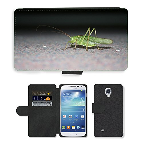 Grand Phone Cases PU LEATHER case coque housse smartphone Flip bag Cover protection // M00142628 Saltamontes Insecto verde Cerrar // Samsung Galaxy S4 S IV SIV i9500