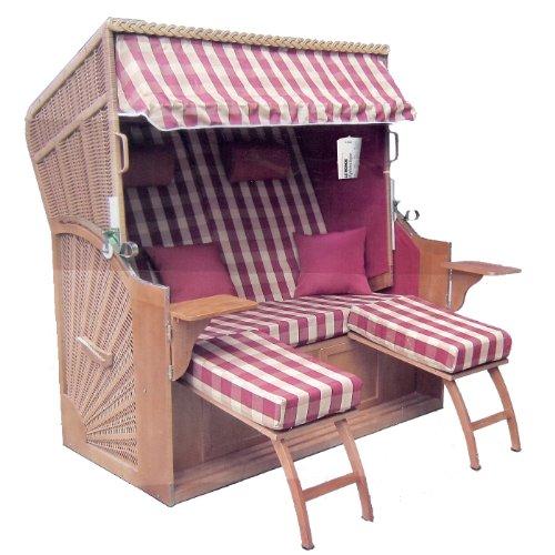 Brubaker Fauteuil-cabine de plage strandkorb 3 places avec position couchée et bâche Largeur 156 cm rouge