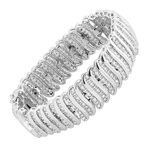 2 ct Diamond 'S' Link Tennis Bracelet in Sterling Silver-Plated Brass