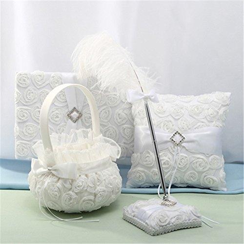 4 Piece Wedding Ring Pillow Bearer Flower Girl Baseket Guest Book Garter and Pen Set
